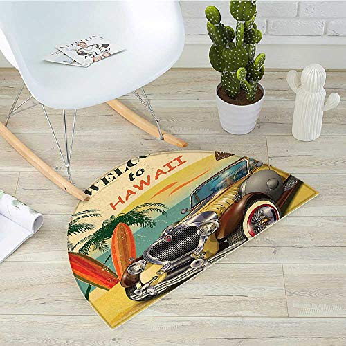 (Retro Half Round Door mats Welcome to Hawaii American Pop Art Print with Aged Car Palms Tribal Mask and Surfboards Bathroom Mat H 31.5
