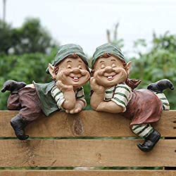 QY&LA Fairy Garden Dwarf gnome Statue, Figurines Lawn Yard Art Ornament Home Decor, Crafts Bonsai Doll House Garden Statue-C