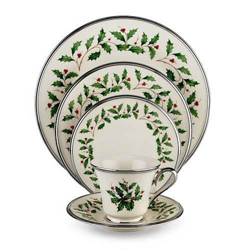 Lenox Holiday Platinum Ivory China 5-Piece Place Setting, Service for 1