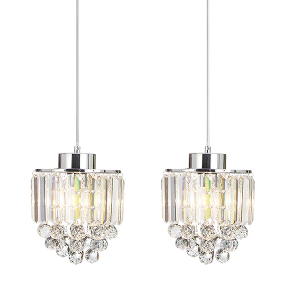 COTULIN Set of 2 Polished Pendant Light Decorative Pendant Lighting Fixture Cord Adjustable Crystal Chandelier Pendant Light,Ceiling Light for Living Room Dining Room Bar