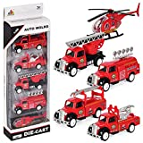 Pull Back and Go Engine Truck Friction Mini Vehicles Car Toy for 3 Year Old,5pcs Set (Fire Engine)