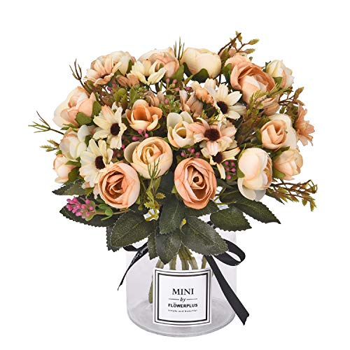 Daisy Rose Wedding Bouquet - Sunm boutique Artificial Rose Daisy Flower Bouquet, Silky Rose Bouquets with Daisy and Leaves Floral Bouquets for Wedding Arrangements Table Centerpieces Garden Party Home Decor