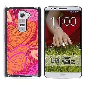 Caucho caso de Shell duro de la cubierta de accesorios de protección BY RAYDREAMMM - LG G2 D800 D802 D802TA D803 VS980 LS980 - Pattern Love Valentines Pink Orange