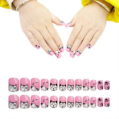 24pcs Children Nails Press on Pre-glue Full Cover Gradient Color Rainbow Short False Nail Kits Gift for Kids