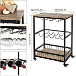 HOMECHO Wine Bar Cart, Simple Modern Beverage Cart with Wine Rack/Glass Holder, Rolling Serving Cart with Lockable…