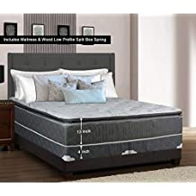 Greaton 9030v-3/8-2LPS Fully Assembled Medium Plush Pillow Top Innerspring Mattress and Split Box Spring/Foundation Set / 74x44 (Not Standard Size) / Grey and, White, Color