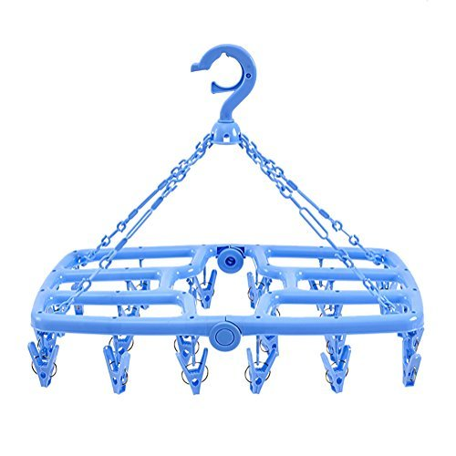 Foldable Clip and Drip Laundry Drying Hanger Rack with 24 St