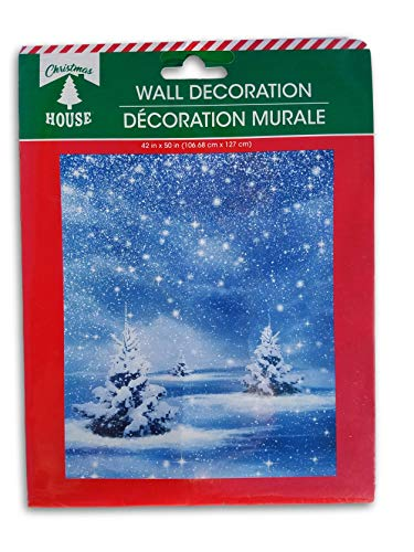 Christmas Holiday Winter Wall Decoration - Snowy Night - 42 x 50 Inches (Winter Wall Decorations)
