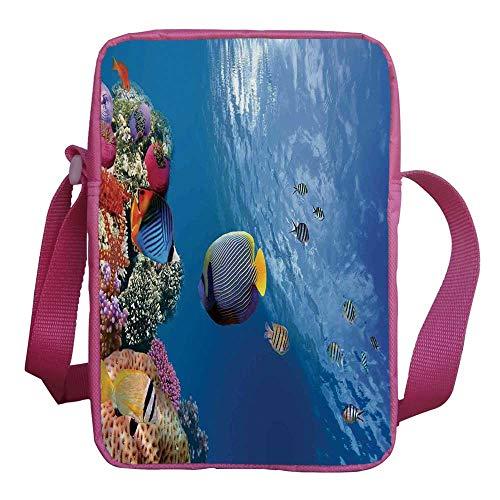 - Farm House Decor Stylish Kids Crossbody Bag,Tropical Emperor Long Living Angelfish in Underwater Exotic Marine Animal Image for Girls,9