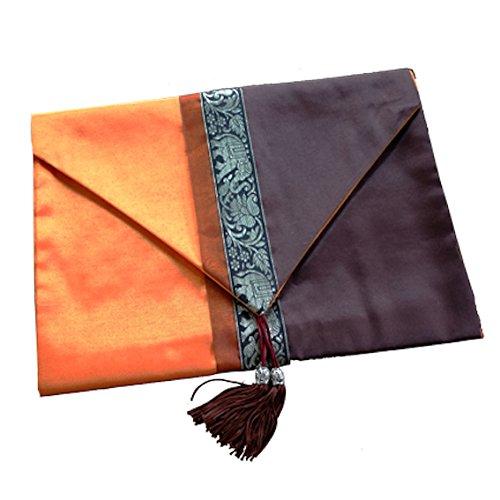 Thai Silk Bed/Table Runner Elephant design 80 inch Orange Brown Color