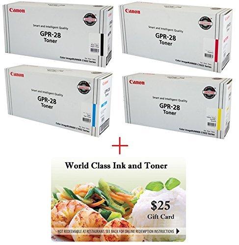 (WCI© Best Value Pack® of All (4) Genuine Original Canon Brand GPR-28 Toner Cartridges + a FREE $25 Restaurant Gift Certificate (1 ea of BK/CY/MG/YE) For: ImageRunner C1022/C1022i/C1030/C1030iF Series.)
