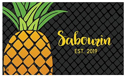 - Studio M MatMates Cropped Pineapple Personalized Door Mat Custom Indoor Outdoor, Your Family Name, Non-Slip Recycled Rubber Back, Printed in USA, 18 x 30 Inches