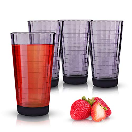 - Emenest Plum Cooler Drinking Glasses (Set of 4) | 17-oz Real Glassware with Heavy Base | 4 Highball Drinkware Tumbler Set For Water, Whiskey, Cocktails | Best Kitchen Gift