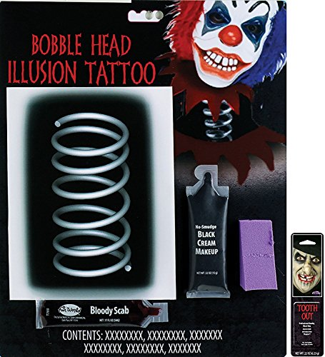 Potomac Banks Illusion Tattoo Makeup Kit (Bobble Head) with Free Pack of Makeup