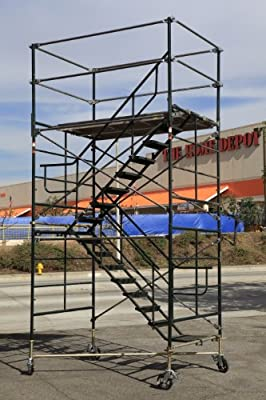 """SCAFFOLDING STAIRWAY ROLLING TOWER WITH ADJUSTABLE WHEELS FROM 11'7"""" to 12' 7"""" DECK HIGH CBM1290"""