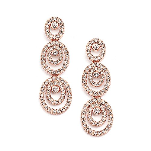 14kt Gold Plated Rhinestone Earrings - Mariell Concentric Ovals Genuine 14KT Rose Gold Plated Pave CZ Bridal Wedding Chandelier Earrings