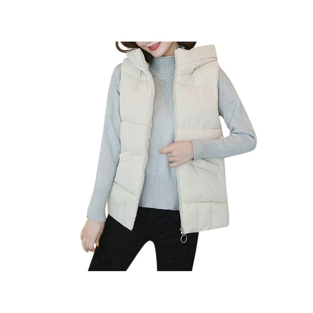 ♫Loosebee♫ Women Lightweight Down Vest Coat Solid Sleeveless Cotton-Padded Jackets Loose Packable Hoodie Puffer Coat Beige by ♫Loosebee♫
