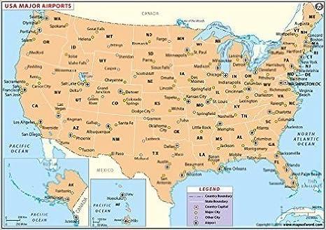 Amazon.com : US Major Airports Map (36\