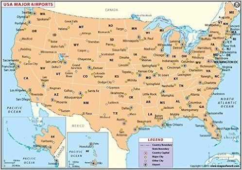 Amazoncom Us Major Airports Map Laminated 36 W X 25 H - Us-major-airports-map