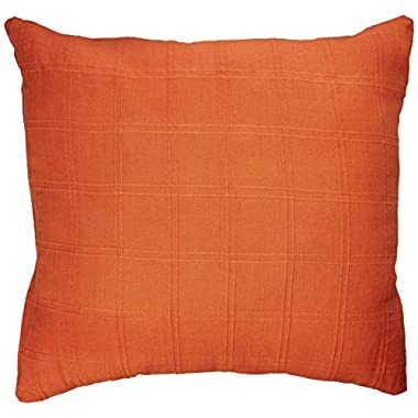 California Orange Set of 2 Throw Pillows Cover 18 x 18 Inches Made Of 100% Plush Cotton Fabric Cushion Cases Solid Checks design Luxury decorative Machine Wash Non-fading (Orange)