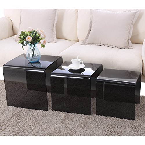 SUNCOO Glass Coffee Table Set of 3 End Side Table Living Room Table Sets Black ()