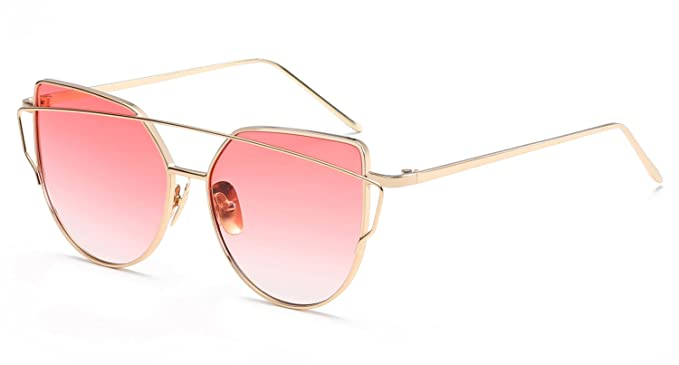 Mirrored Metal Framed Sunglasses UV400 Pink Flat Lens