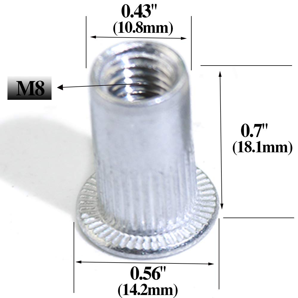 Boeray 190PCS M3 M4 M5 M6 M8 M10 Aluminum Alloy Flat Head Rivet Nut Alumium Rivnut Insert Cap Rivet Nut