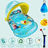 XM Baby Inflatable Boat Swimming Rings,Baby Pool Floating Toy with Adjustable Canopy with Bicycle Pump&Bath Toy&Carry Backpack(6-36Months Baby) (With Gifts)