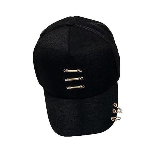211221827c8 Amazon.com  Unisex Punk Snapback Piercing Silver Ring Hip Hop Hat ...