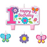 Amscan Sweet Birthday Girl 1st Birthday Candle Set, Small, Pink