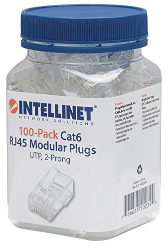 Intellinet Cat6 RJ45 UTP Stranded Modular Plugs, 100 Pack (Rj 45 Utp Cat)