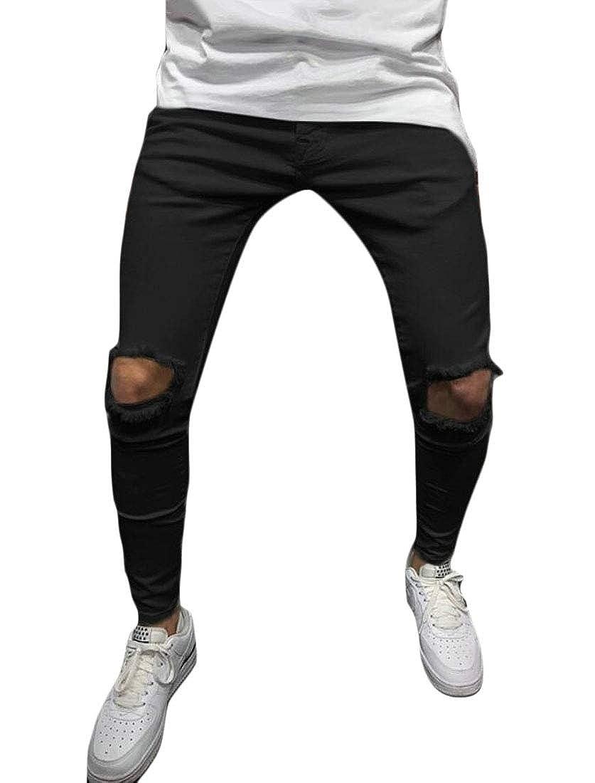 Hokny TD Mens Solid Hip-Hop Stylish Straight Slim Fit Holes Pants