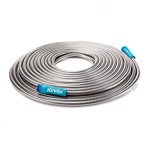Sun Joe AJSGH75 Foot Stainless Steel Heavy-Duty Spiral Constructed Metal Garden Hose, 75 ()