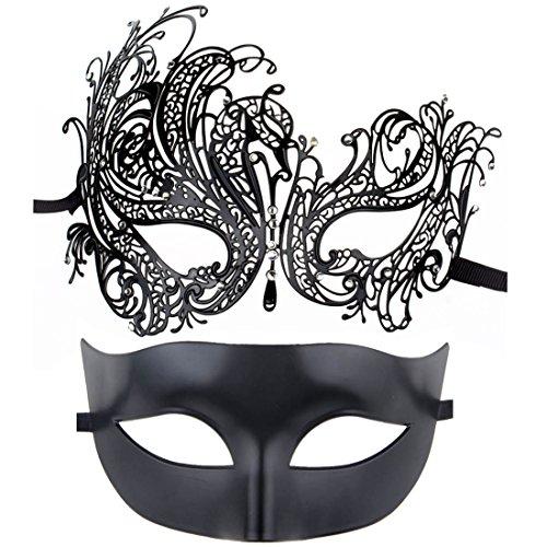 ECOSCO Couple Masquerade Mask Women Men Mardi Gras Venetian Ball Mask (Black+black6) -