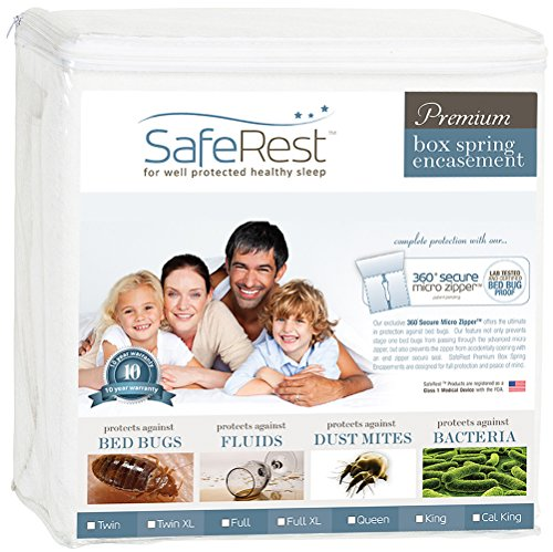 SafeRest Premium Box Spring Encasement - Lab Tested Bed Bug Proof, Dust Mite Proof and Waterproof - Breathable, Noiseless and Vinyl Free - Queen ()