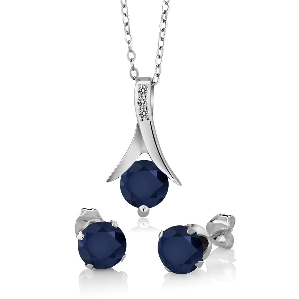 925 Sterling Silver Blue Sapphire & White Diamond Pendant Earrings Set, 3.05 Ct Round with 18 Inch Silver Chain