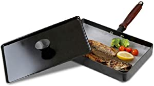 M&COOK Square Type Fish Grill Fry Pan With Lid