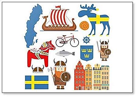 Imán para nevera con diseño de iconos y dibujos de Suecia: Amazon ...