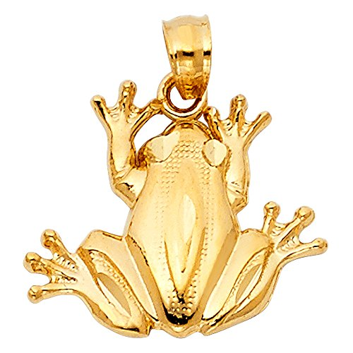 Ioka - 14K Yellow Gold Frog Charm Pendant For Necklace or - Charm Gold Pendant Frog