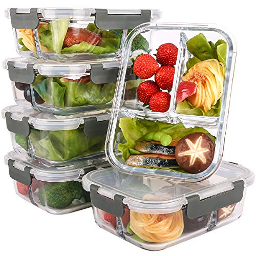 6-Packs-Glass-Meal-Prep-Containers-3-Compartment-with-Lids-Glass-Lunch-ContainersFood-Storage-Lunch-BoxBento-BoxBPA-Free-Microwave-Oven-Freezer-Dishwasher-Safe-36-oz