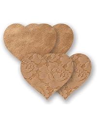Nippies Tan Caramel Hearts Waterproof Adhesive Fabric Nipple Cover Pasties Size B