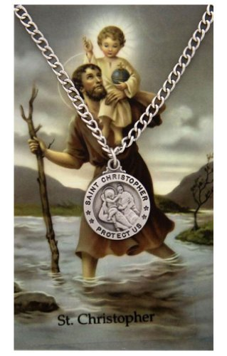 Pewter Pendant with Prayer Card St. Christopher Round