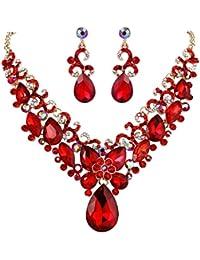 Women's Bohemian Boho Crystal Teardrop Marquise Butterfly Filigree Statement Necklace Dangle Earrings Set
