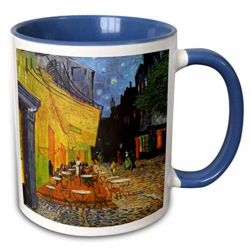 - 3dRose 155653_6 Cafe Terrace at Night by Vincent Van Gogh Mug, 11 oz, Blue