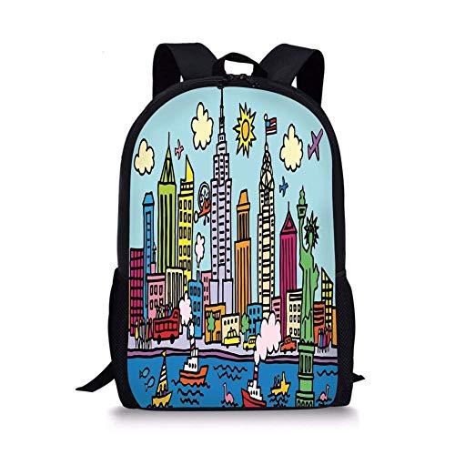 (School Bags Playroom Decor, York City in Cartoon Style Colorful Childlike Drawing Kids Room Nursery,Multicolor for Boys&Girls Mens Sport)