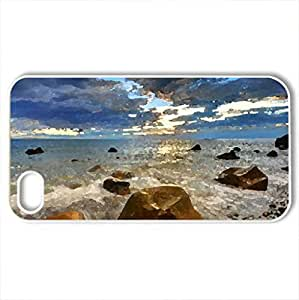Beautiful View - Case Cover for iPhone 4 and 4s (Beaches Series, Watercolor style, White)