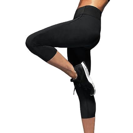 a2d2b40a5e393 Womens Slimming Capris Pants Hot Thermo Neoprene Sweat Sauna Body Shapers  Yoga Sport Leggings Black