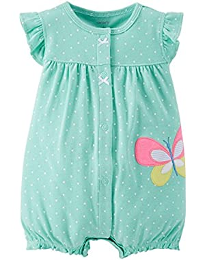 Carters Neon Applique Creeper Mint Butterfly