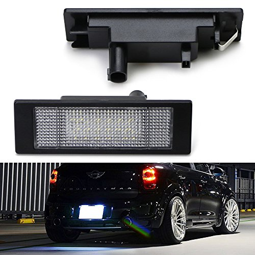 iJDMTOY OEM Fit Xenon White LED License Plate Lamps For 2007-2011 Mini Cooper R55 Clubman, 2011-2016 R60 Countryman, 2013-2016 R61 Paceman