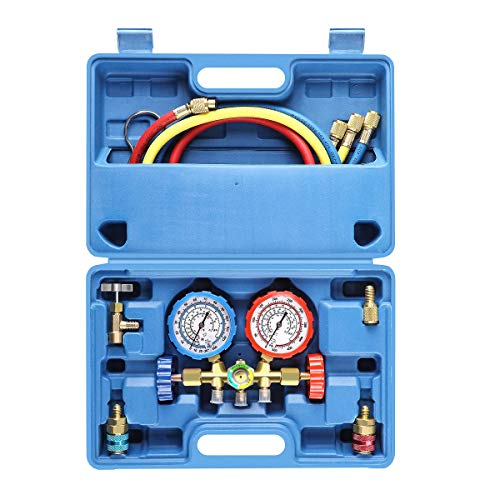 3 Way AC Diagnostic Manifold Gauge Set for Freon Charging, Fits R134A R12 R22 and R502 Refrigerants, with 3FT Hose, ACME Tank Adapters, Quick Couplers and Can Tap (Gauges Replacement Refrigerant)